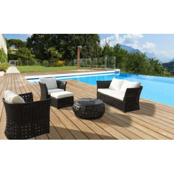 Divani Salotto in Rattan Sintetico Marrone - Samana Brown